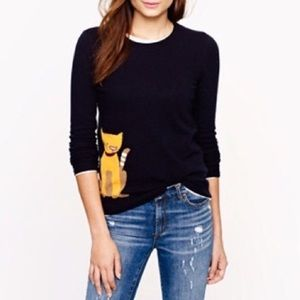 J Crew black label tabby cat navy blue sweater